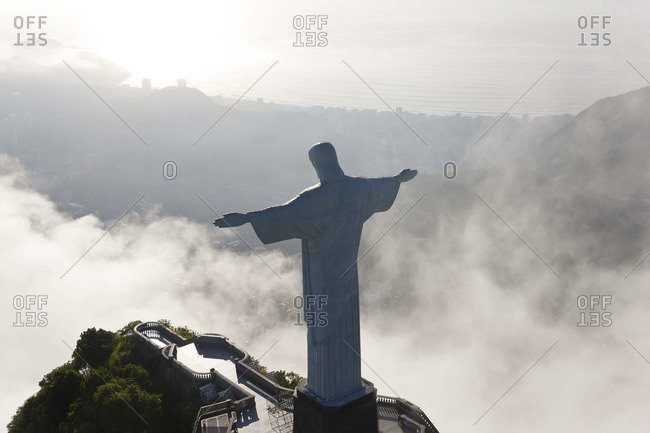 - December 5, 2011: Aerial view of Christ Redeemer statue on the Corcovado Mountain, Rio de Janeiro, Brazil