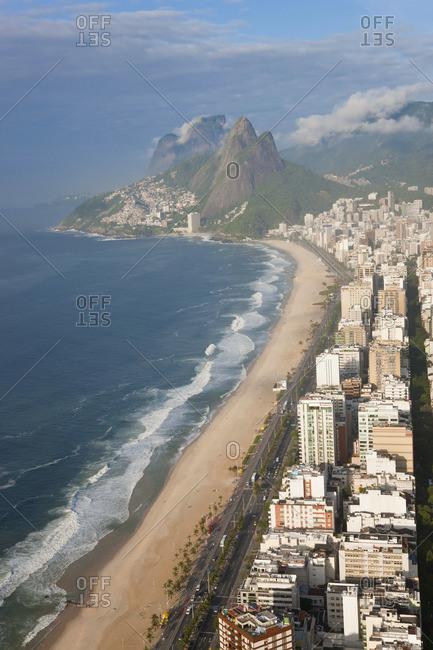Ipanema beach, Dois Irmaos mountain in background, Rio de Janeiro, Brazil