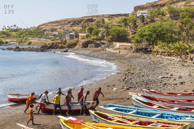 - March 9, 2013: Fishing boats on beach, Cidade Velha, Santiago Island, Cape Verde