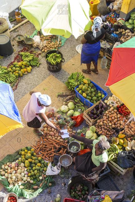 Top view of African market, Assomada, Santiago Island, Cape Verde