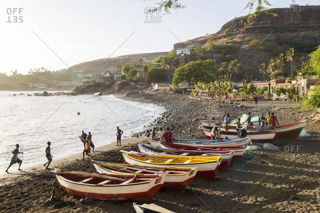 - March 10, 2013: Fishing boats on beach, Cidade Velha, Santiago Island, Cape Verde
