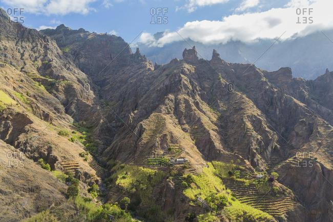 View of terraced farmland near Horta da Garca, Santo Antao, Cape Verde