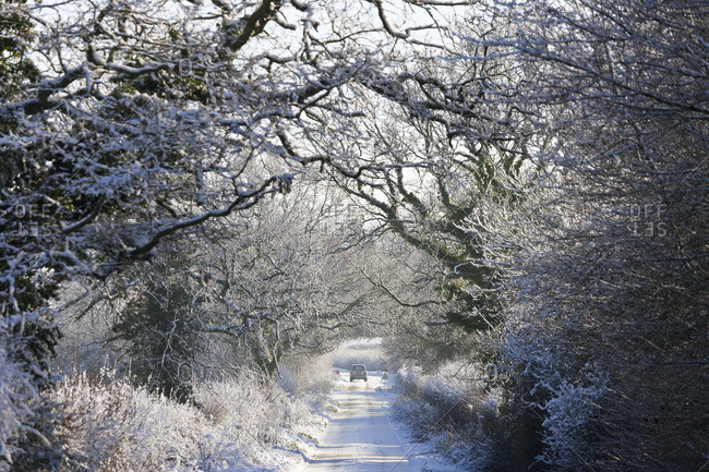 Country lane with snow, near Chipping Sodbury, South Gloucestershire, UK