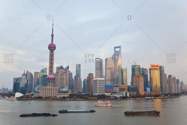 Pudong skyline with the Huangpu River, Shanghai, China
