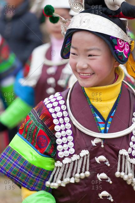 - January 28, 2012: Portrait of a Black Miao girl at a festival, Kaili, Guizhou Province, China