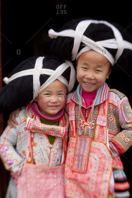 - January 30, 2012: Portrait of Long Horn Miao girls, Sugao, Guizhou Province, China