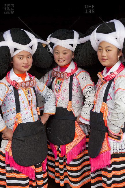 - January 31, 2012: Portrait of Long Horn Miao girls, Sugao, Guizhou Province, China