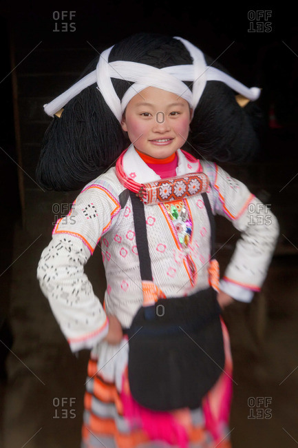 - January 31, 2012: Portrait of a Long Horn Miao girl, Sugao, Guizhou Province, China
