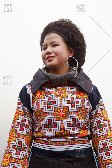- February 1, 2012: Portrait of a Cross Stitched Miao girl, Sugao, Guizhou Province, China