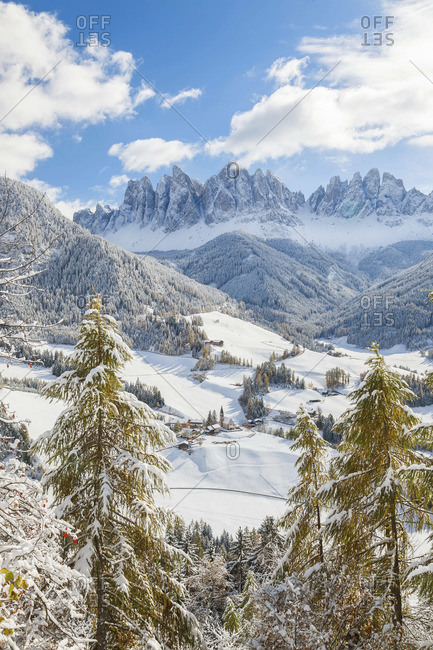 St. Magdalena village with Geisler Spitzen in the background, South Tyrol, Italy