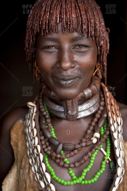 - January 24, 2009: Portrait of Hamer woman in Dimeka, Omo Valley, Ethiopia