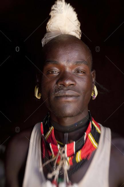 - January 26, 2009: Portrait of Hamer man in Omo Valley, Ethiopia