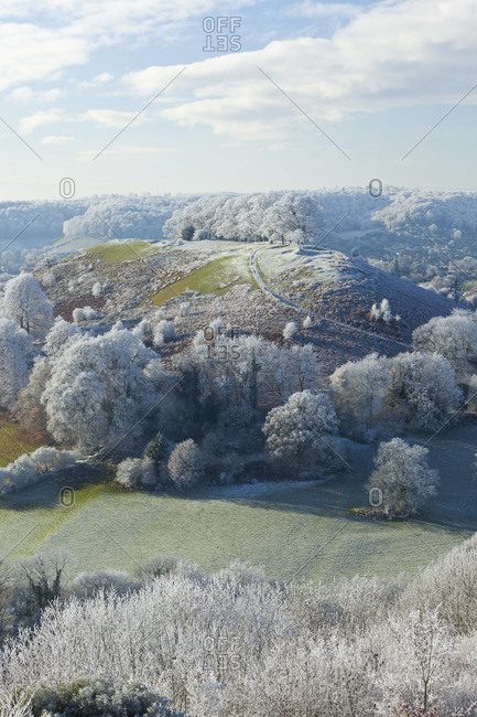Downham Hill covered in frost, Gloucestershire, UK