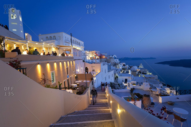 The town of Fira at dusk, Santorini, Greece