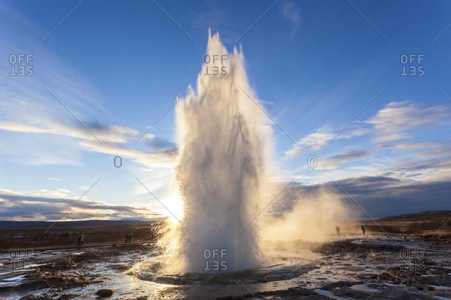 Strokkur Geysir erupting at the Golden Circle, Iceland