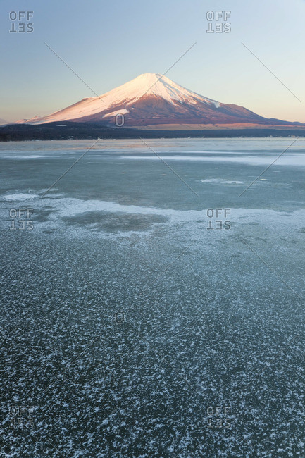 Lake Yamanaka with Mount Fuji in the background, Japan