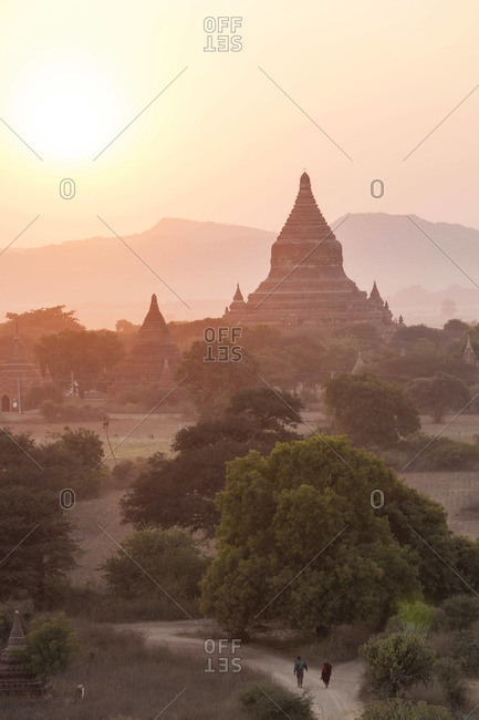 Silhouette of ancient temple in Bagan at sunset, Myanmar