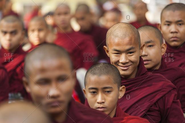 - February 6, 2013: Monks queuing for lunch, Maha Ganayon Kyaung Monastery, Amarapura, Myanmar
