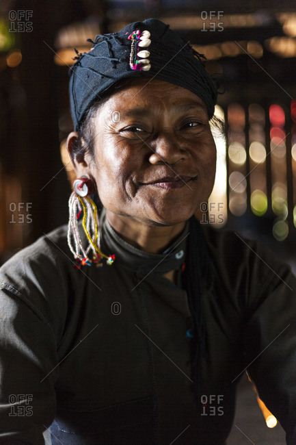Golden Triangle, Myanmar - February 12, 2013: Portrait of a woman of the small Ann tribe, Golden Triangle, Myanmar (Burma)