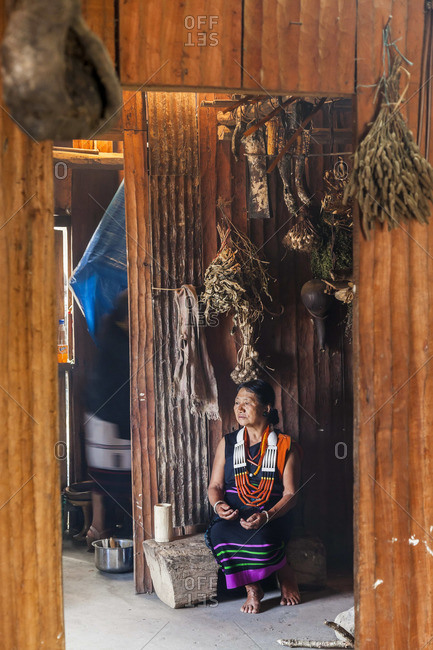- December 4, 2012: Chakhesang woman in kitchen, Nagaland, NE India