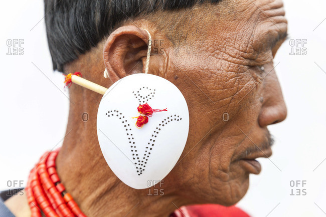 - December 6, 2012: Yimchunger tribesman with earring, Nagaland, N.E. India