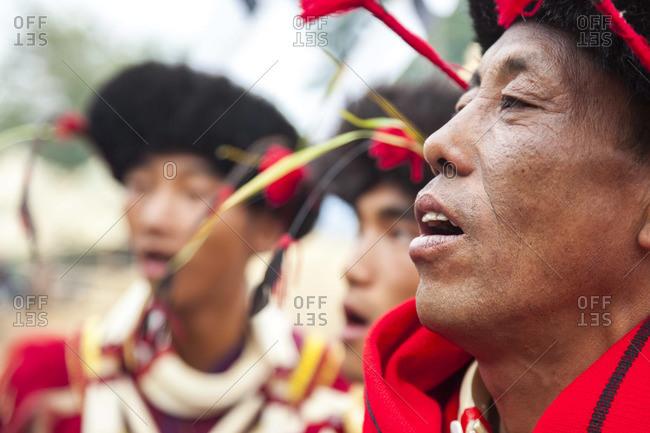 - December 6, 2012: Ao tribesman singing, Nagaland, N.E. India