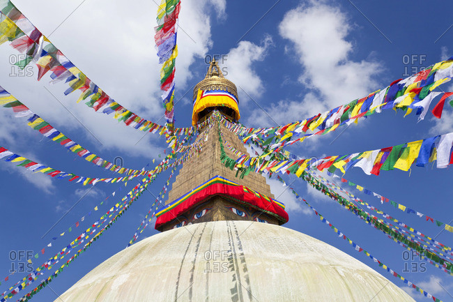 Prayer flags decorating Bodnath Stupa, Kathmandu Valley, Nepal
