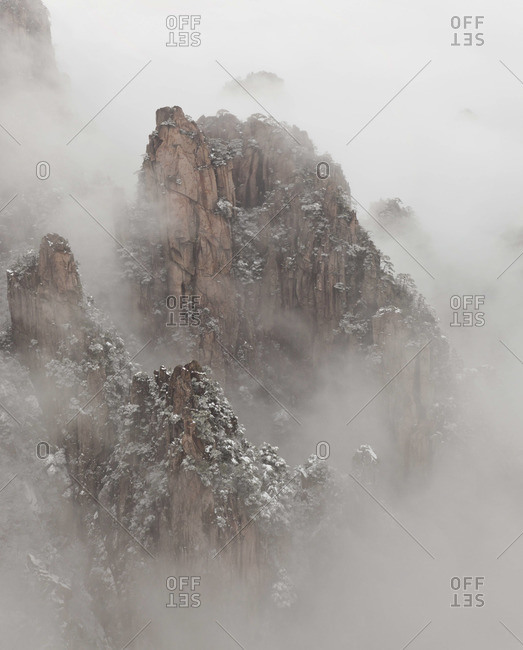 The snow-covered Huangshan or Yellow Mountain, Anhui Province, China