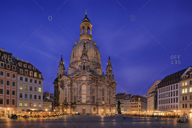 View to lighted Church of Our Lady at Neumarkt square
