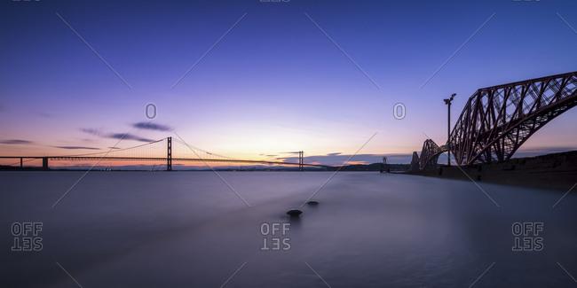 Forth Road Bridge and Forth Bridge, sunset
