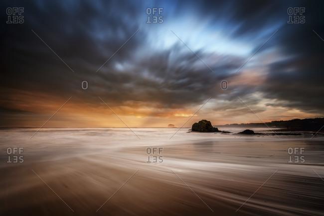 Bass Rock, winter, storm