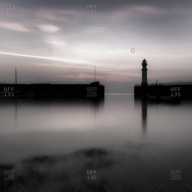 Lighthouse, Granton Harbour in the evening