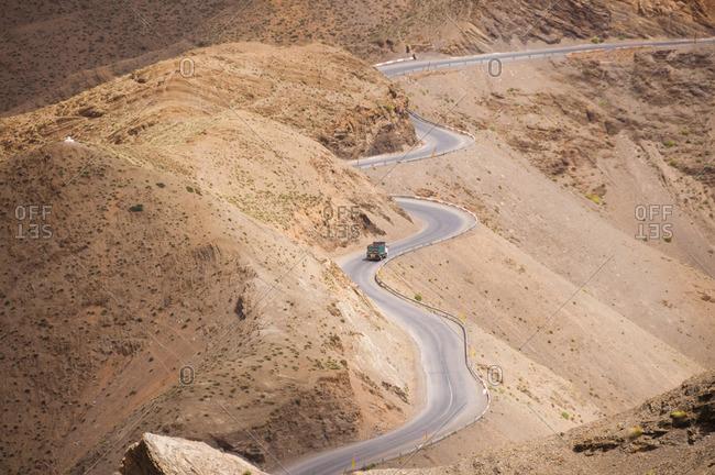 Morocco, Winding road through High Atlas