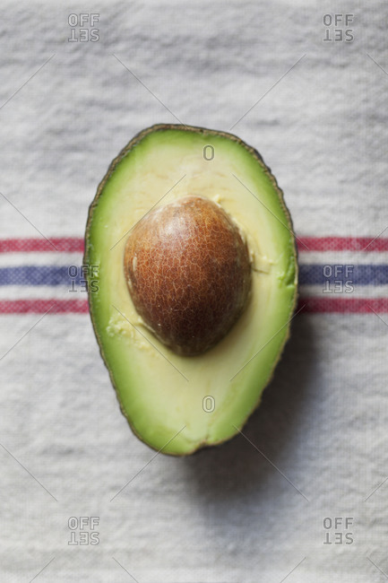 Top view of a half of an avocado