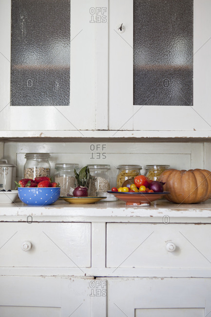 Kitchen counter with fresh fruits and vegetables