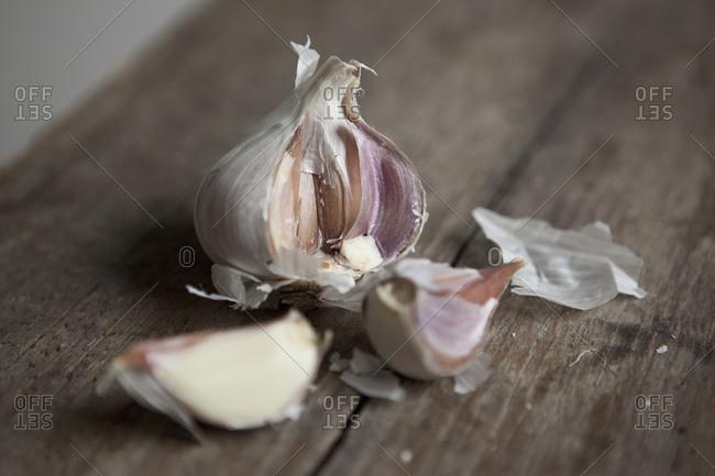 Broken up garlic bulb