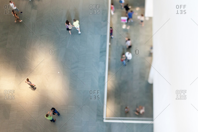 New York City, New York - July 2011: Looking down into the atrium at the Museum of Modern Art