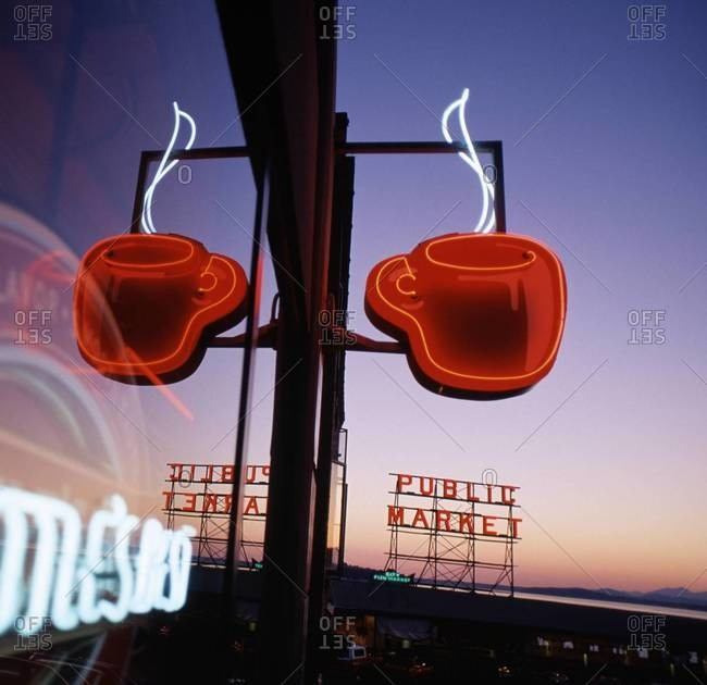 Seattle, Washington - March 24, 2014: Coffee shop reflection