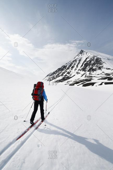 Person skiing, Abisko, Lapland, Sweden