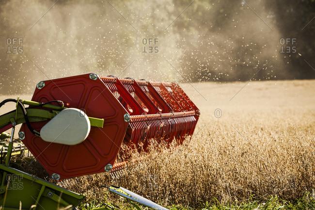 Combine harvester in a Swedish corn field