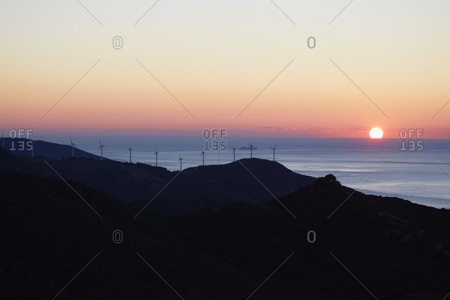 Wind turbines at sea, Spain