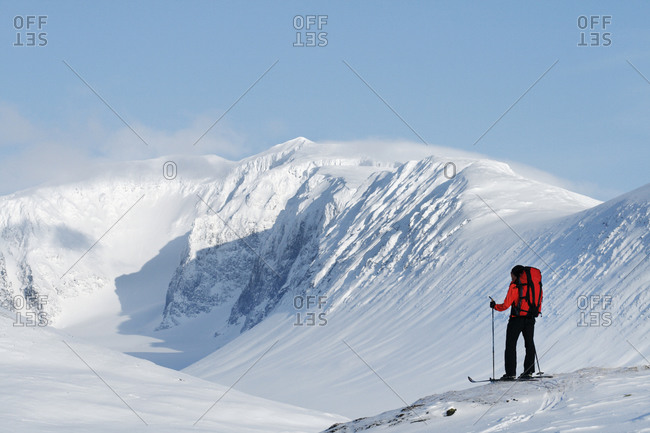 Person skiing, Kebnekaise, Lapland, Sweden