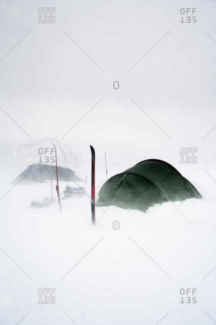 Tents at winter, Sarek national park, Lapland, Sweden