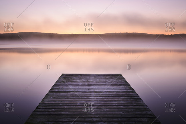 Jetty at sunrise, Norrland, Sweden