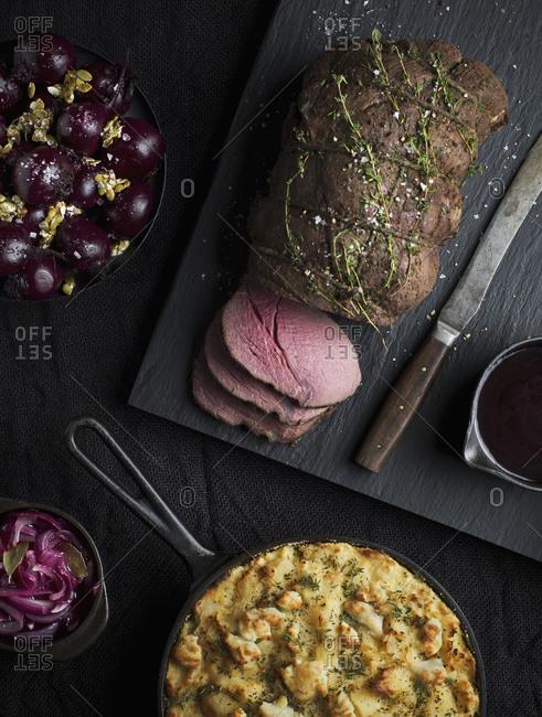 Elk roast with potato gratin