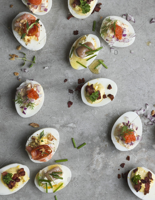 Deviled eggs with different fillings