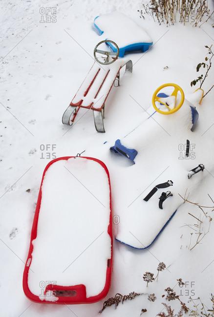 Sledges covered by snow, Vastergotland, Sweden