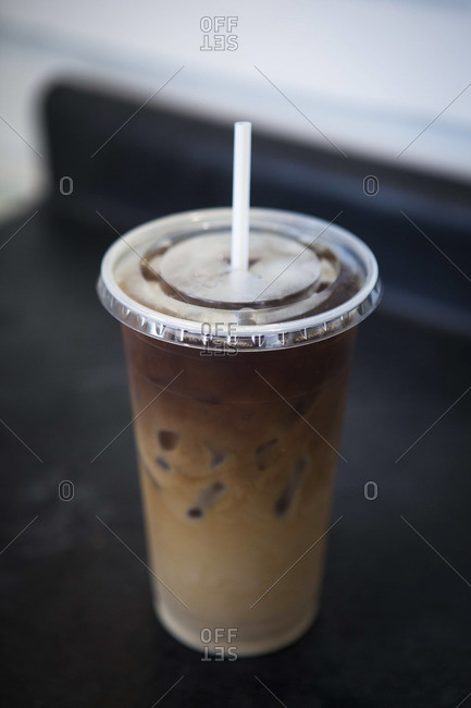 Freshly brewed iced coffee with cream