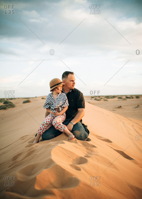 Little girl poses in the desert