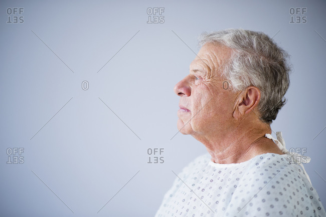 Side view of senior patient